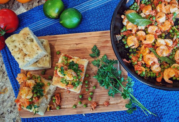 Shrimp And Chorizo on Focaccia
