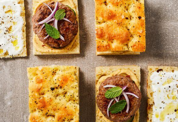 Focaccia Burgers with Hummus and Cucumber