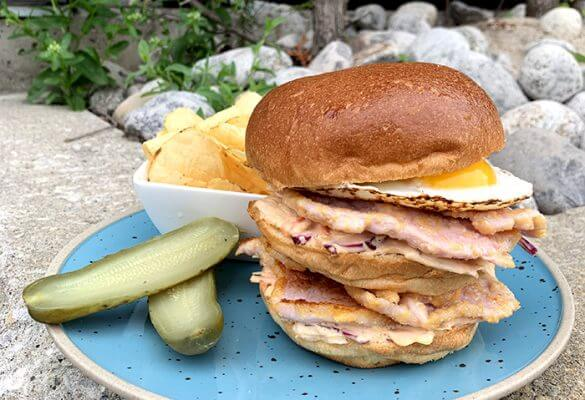 BBQ Roasted Peameal Bacon Sandwich Stack
