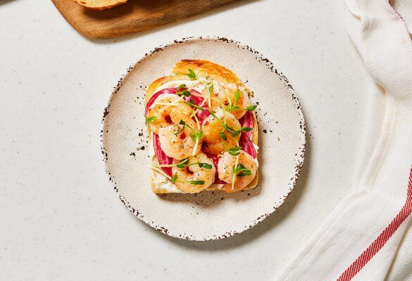 Shrimp and Beet Open-Faced Sandwich
