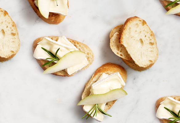 Pear, Brie & Rosemary Crostini