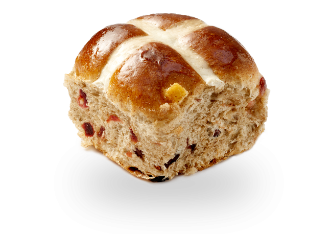 Cranberry Orange Hot Cross Bun