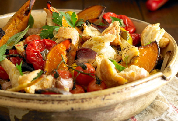 Warm Vegetable Panzanella Salad